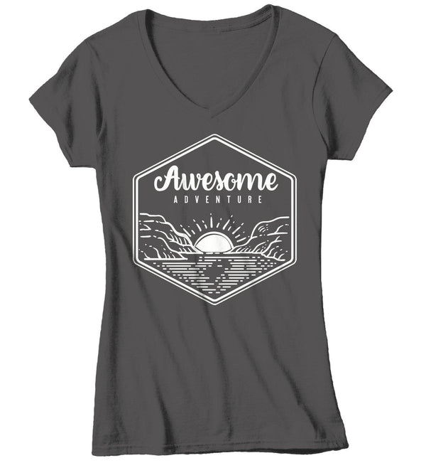 Women's Awesome Adventure Shirt Mountains T-Shirt Lake Sunrise Camping Vintage Wanderlust T Shirt-Shirts By Sarah