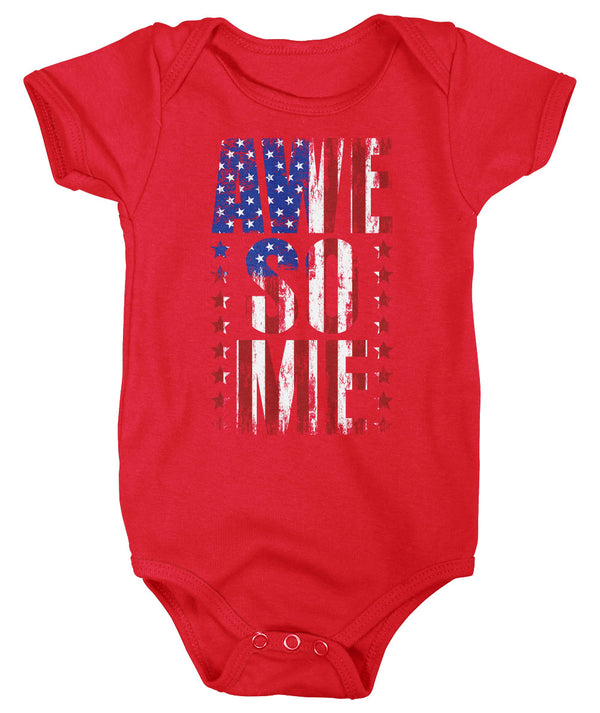 Baby Flag Bodysuit Awesome Creeper USA Patriotic Snap Suit Flag Snapsuit Stars Stripes Boys Girls Infant Patriot Gift Idea-Shirts By Sarah