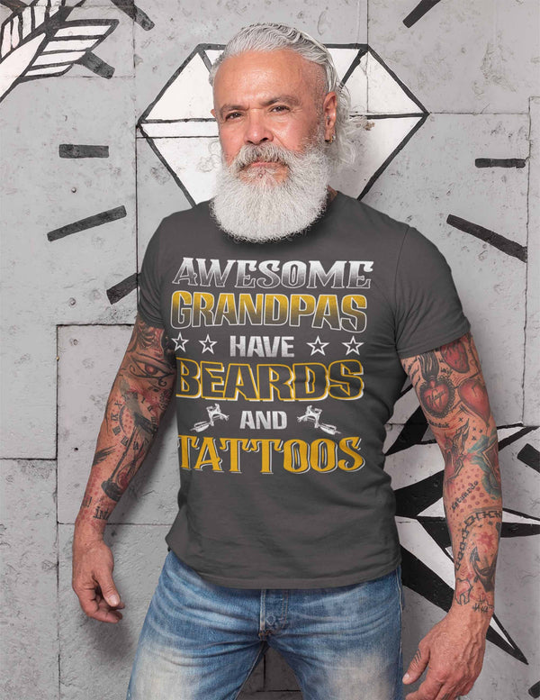 Men's Grandpa T Shirt Awesome Grandpas Have Beards Tattoos Shirts Tattooed Grandpa Bearded Papa Funny Shirts Gift For Him-Shirts By Sarah