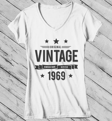 Womens 50th Birthday T Shirt Original Vintage Awesome Since 1969 Gift Idea Shirts
