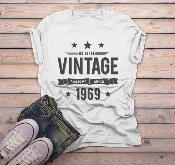 Men's 50th Birthday T Shirt Original Vintage Shirt Awesome Since 1969 Gift Idea 50th Birthday Shirts Vintage Tee Vintage Shirt-Shirts By Sarah