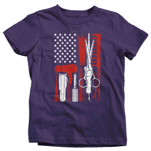 Kids Barber Shirt Flag TShirt Patriotic Barber American Flag T Shirt Hairdresser Shirt Barber Gifts 4th July Patriot Boy's Girl's-Shirts By Sarah