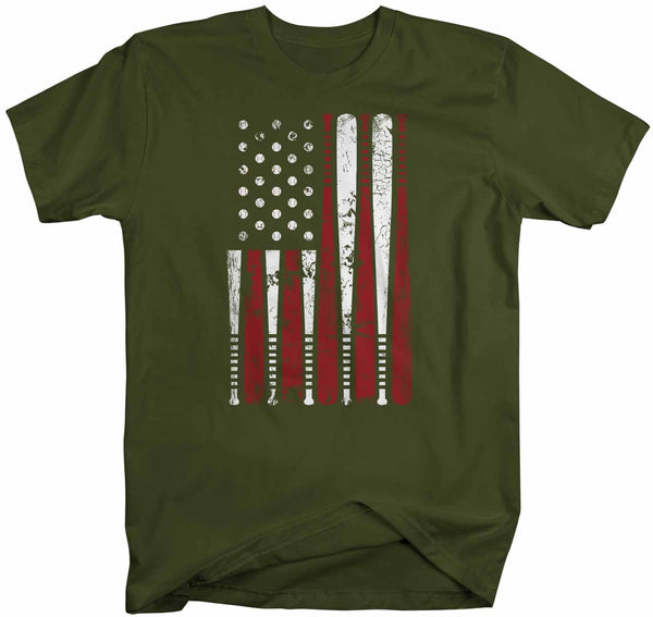 Men's Baseball Flag T Shirt Patriotic Baseball Shirt American Flag Shirt Baseball Gift Idea-Shirts By Sarah
