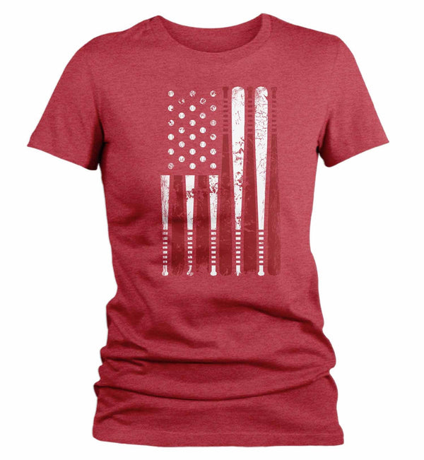 Women's Baseball Flag T Shirt Patriotic Baseball Shirt American Flag Shirt Baseball Gift Idea-Shirts By Sarah