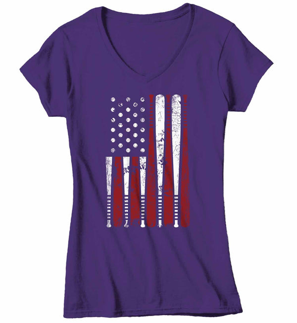 Women's V-Neck Baseball Flag T Shirt Patriotic Baseball Shirt American Flag Shirt Baseball Gift Idea-Shirts By Sarah