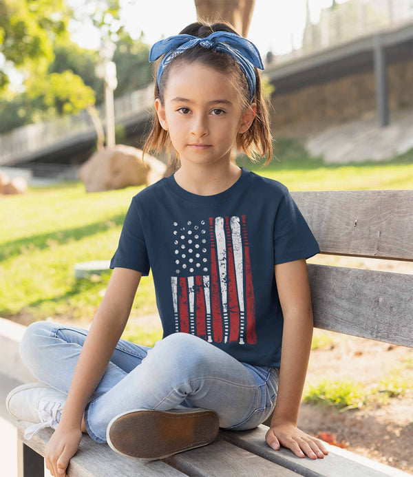 Kids Boy's Girl's Baseball Flag T Shirt Patriotic Baseball Shirt American Flag Shirt Baseball Gift Idea-Shirts By Sarah