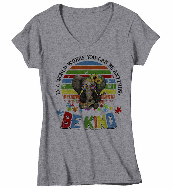 Women's V-Neck Autism Awareness T Shirt Be Kind Shirt Autism Elephant Shirt Boho Autism Shirt Autism Awareness Shirt-Shirts By Sarah