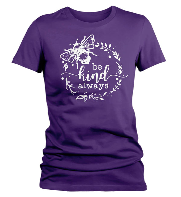 Women's Bee Kind T Shirt Kindness Shirts Be Kind Shirt Bee Shirts Sunflower Shirts Flower T Shirt Vintage Shirt-Shirts By Sarah