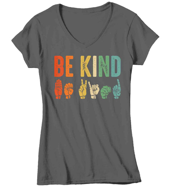 Women's Be Kind T Shirt Kindness Shirts Be Kind Shirt ASL Shirts Sign Language Shirts Vintage Shirt-Shirts By Sarah