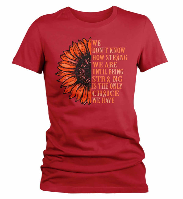 Women's Orange Awareness Shirt Sunflower Shirt Multiple Sclerosis Flower Shirt Leukemia Awareness Shirts Orange TShirt-Shirts By Sarah