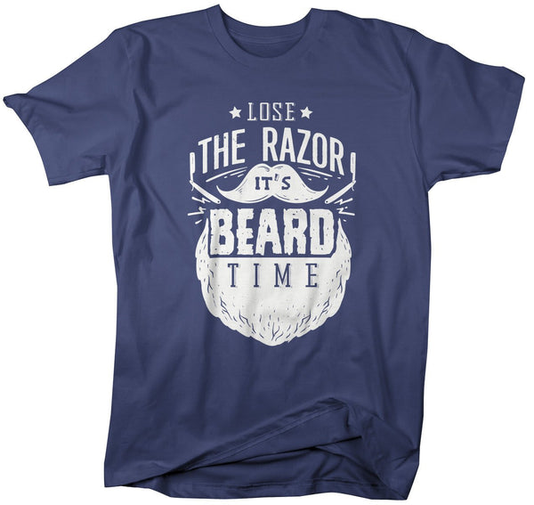 Shirts By Sarah Men's Beard Time T-Shirt Hipster Razor Shirts-Shirts By Sarah