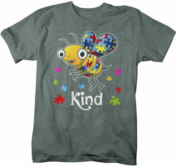 Men's Autism Shirt Bee Kind Shirt Autism T Shirt Be Kind Shirt Cute Bee Kind Puzzle Shirt Autism Awareness Shirt-Shirts By Sarah