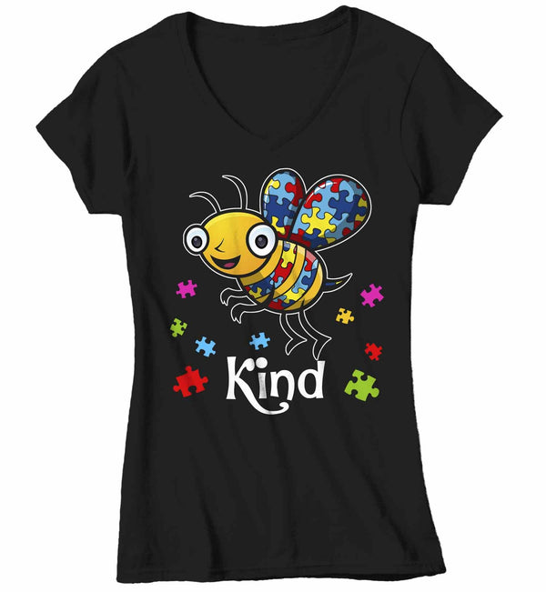Women's V-Neck Autism Shirt Bee Kind Shirt Autism T Shirt Be Kind Shirt Cute Bee Kind Puzzle Shirt Autism Awareness Shirt-Shirts By Sarah