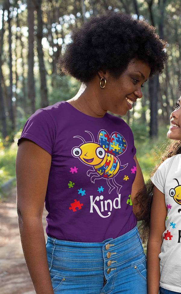 Women's Autism Shirt Bee Kind Shirt Autism T Shirt Be Kind Shirt Cute Bee Kind Puzzle Shirt Autism Awareness Shirt-Shirts By Sarah