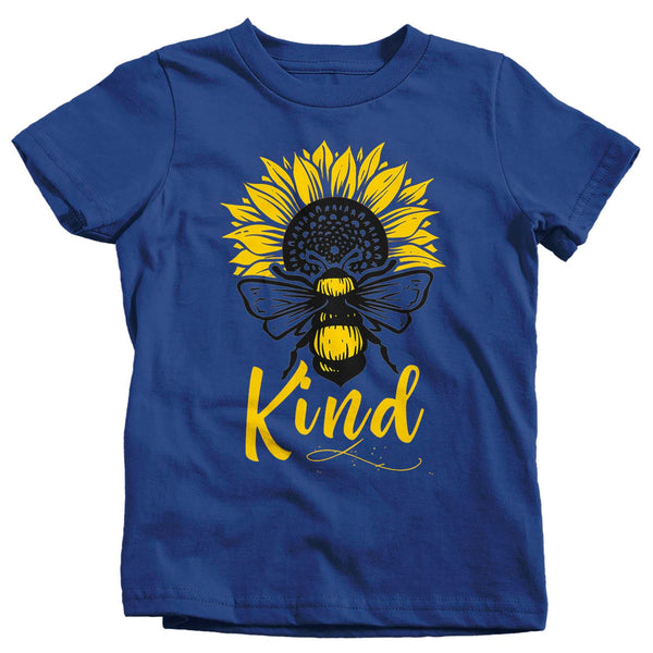 Kids Bee Kind T Shirt Kindness Shirts Be Kind Shirt Bee Shirts Sunflower Shirts Flower T Shirt Vintage Shirt-Shirts By Sarah