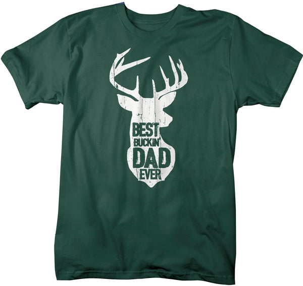 Men's Funny Dad T Shirt Father's Day Gift Best Buckin' Dad Ever Shirt Vintage Shirt Silhouette Buck Deer Father Hunter Shirt-Shirts By Sarah