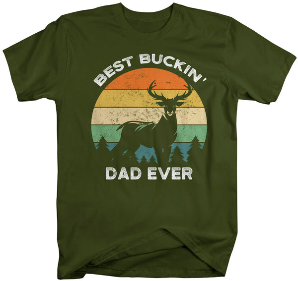 Men's Funny Dad T Shirt Father's Day Gift Best Buckin' Dad Ever Shirt Vintage Shirt Retro Buck Deer Father Hunter Shirt-Shirts By Sarah