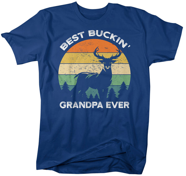Men's Funny Grandpa T Shirt Father's Day Gift Best Buckin' Grandpa Ever Shirt Vintage Shirt Retro Buck Deer Grandpa Hunter Shirt-Shirts By Sarah