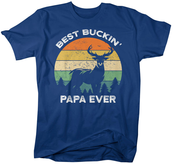 Men's Funny Papa T Shirt Father's Day Gift Best Buckin' Papa Ever Shirt Vintage Shirt Retro Buck Deer Grandpa Hunter Shirt-Shirts By Sarah