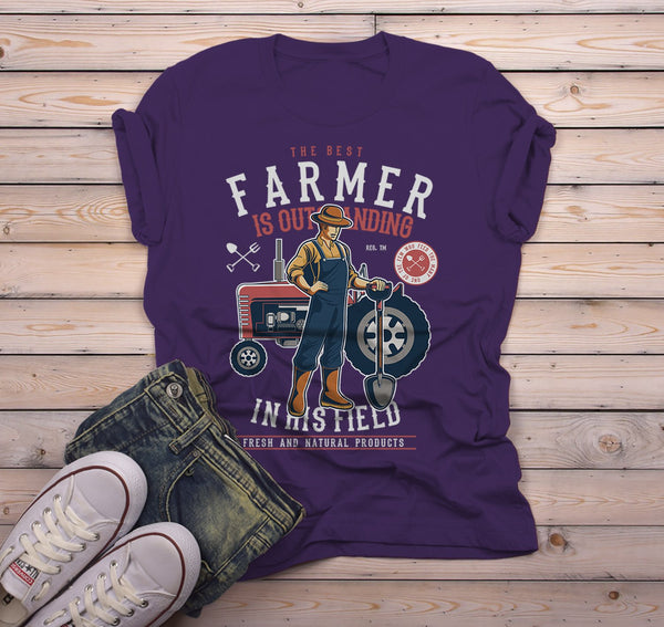 Men's Funny Farmer Shirt Best In Field TShirt Farming Gift Idea Vintage Farming Graphic Tee-Shirts By Sarah