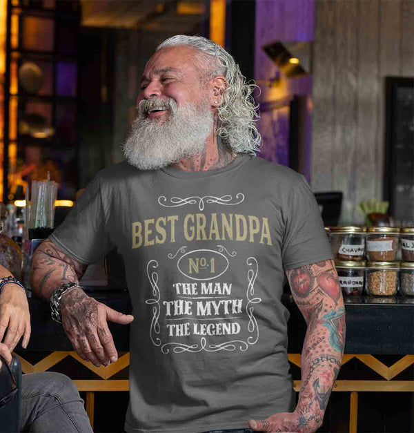 Men's Best Grandpa Shirt Vintage Tee Classic Whiskey Man Myth Shirt Father's Day Gift Idea Shirt Legend No. 1 Grandpa Unisex Man Soft Tee-Shirts By Sarah