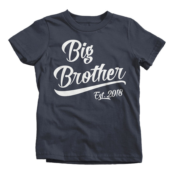 Shirts By Sarah Little Boy's Big Brother Est. 2018 Toddler T-Shirt Promoted To-Shirts By Sarah