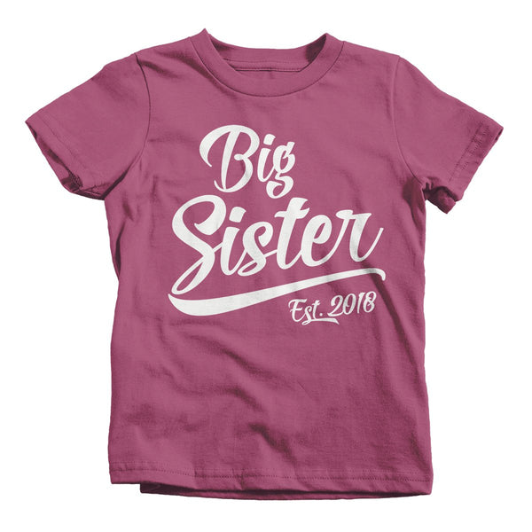 Shirts By Sarah Toddler Girl's Big Sister Est. 2018 T-Shirt Sibling Matching Tee-Shirts By Sarah
