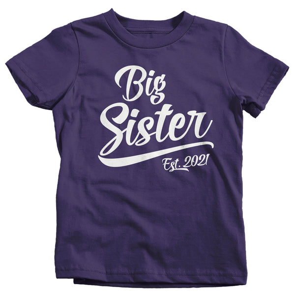 Girl's Big Sister EST. 2021 T-Shirt Promoted to Shirt Baby Reveal Announcement Shirts Big Sister T Shirt Sister Shirts-Shirts By Sarah