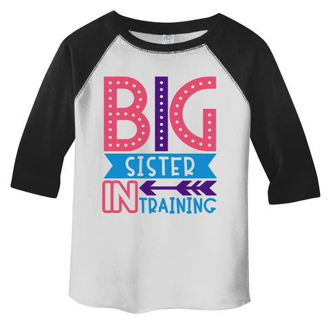 Girl's Toddler Big Sister in Training T-Shirt Promoted Shirt Baby 3/4 Sleeve Raglan-Shirts By Sarah