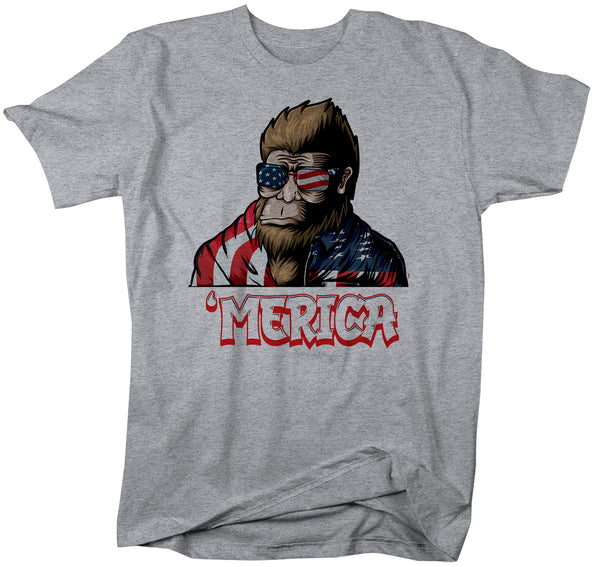 Men's Bigfoot T Shirt Patriotic Shirt 4th July Shirt Funny Merica Shirt 'Merica Shirt Patriotic Bigfoot Merica Shirt-Shirts By Sarah