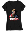 Women's V-Neck Bigfoot T Shirt Patriotic Shirt 4th July Shirt Funny Merica Shirt 'Merica Shirt Patriotic Bigfoot Merica Shirt
