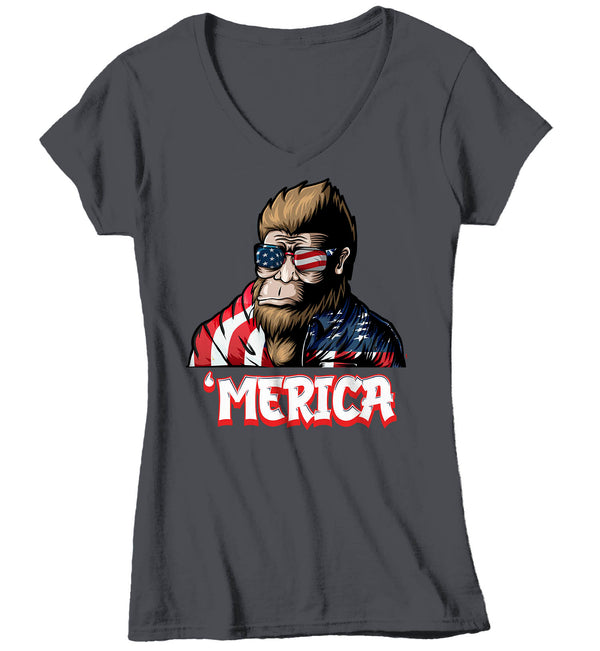 Women's V-Neck Bigfoot T Shirt Patriotic Shirt 4th July Shirt Funny Merica Shirt 'Merica Shirt Patriotic Bigfoot Merica Shirt-Shirts By Sarah