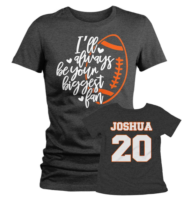Women's Personalized Football T Shirt Biggest Fan Shirts Custom Football Mom Shirt Personalized Football Shirt-Shirts By Sarah