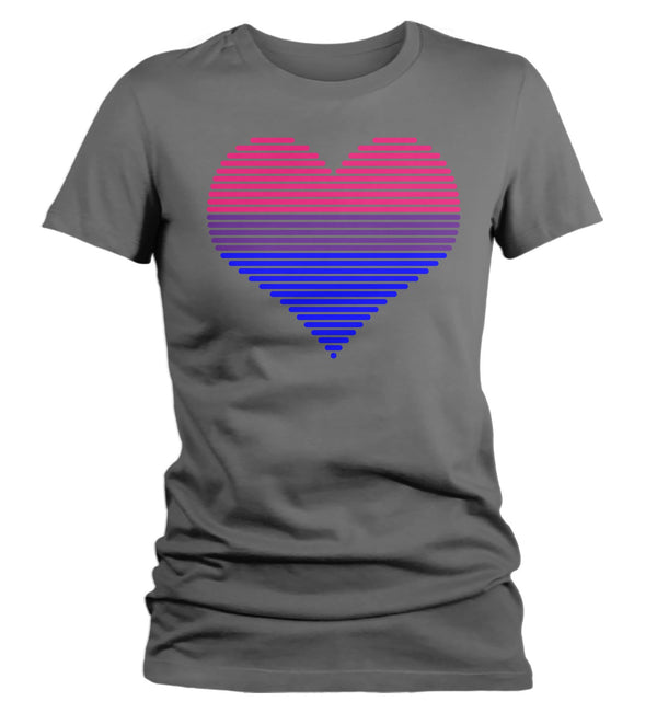 Women's LGBT T Shirt Bisexual Shirts Bisexual T Shirt Heart Shirts Bisexual Pride T Shirts-Shirts By Sarah