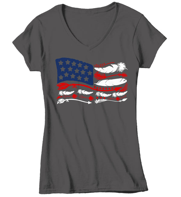 Women's Boho 4th July T Shirt Feather Flag Shirts American Flag TShirt Boho Patriotic Shirt-Shirts By Sarah