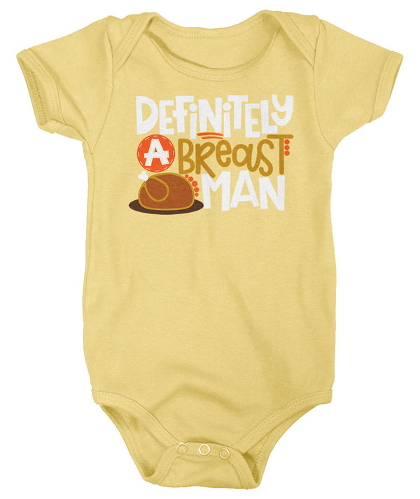 Baby Boy's Funny Breast Man Body Suit Thanksgiving Shirts Turkey Snap Suit Hilarious Breast Baby Creeper Romper-Shirts By Sarah