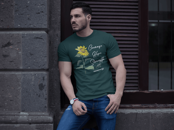 Men's ALS T-Shirt Courage Hope Strength Sunflower Shirts ALS Amyotrophic Lateral Sclerosis Tshirt ALS Awareness Shirt-Shirts By Sarah