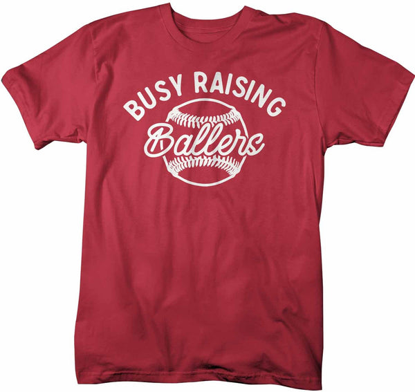 Men's Funny Baseball Dad T Shirt Busy Raising Ballers Shirt Baseball Shirt Funny Ball Shirt Baseball Dad Tee-Shirts By Sarah