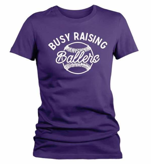 Women's Funny Baseball Mom T Shirt Busy Raising Ballers Shirt Baseball Shirt Funny Ball Shirt Baseball Mom Tee-Shirts By Sarah