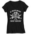 Women's V-Neck Funny Pirate T Shirt Captain Shirt Ship Show Shirt Funny Boater Shirt Boating T Shirt Captain Ship Show Tee-Shirts By Sarah