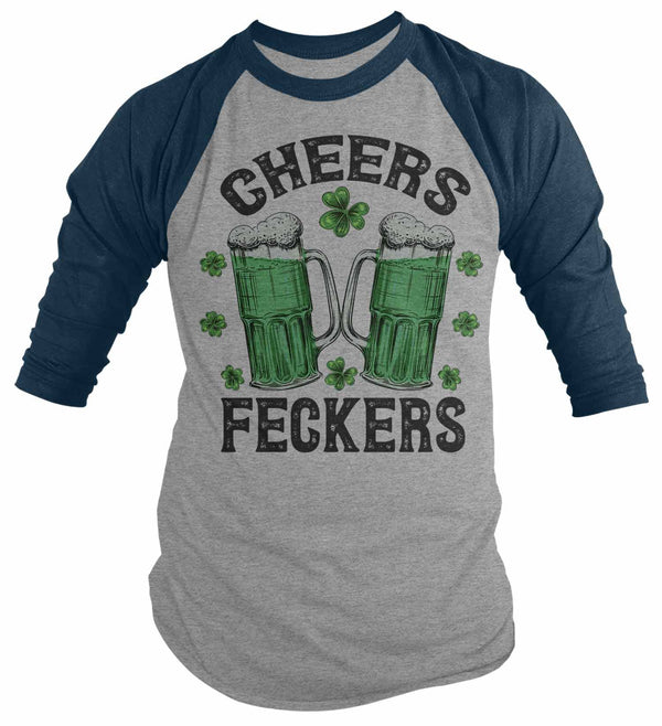 Men's St. Patrick's Day T Shirt Beer Shirt 3/4 Sleeve Raglan Cheers Shirt Cheers Feckers Funny St. Patrick's Day Shirt-Shirts By Sarah