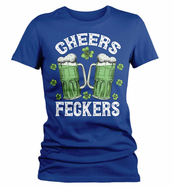 Women's St. Patrick's Day T Shirt Beer Shirt Cheers Shirt Cheers Feckers Funny St. Patrick's Day Shirt-Shirts By Sarah