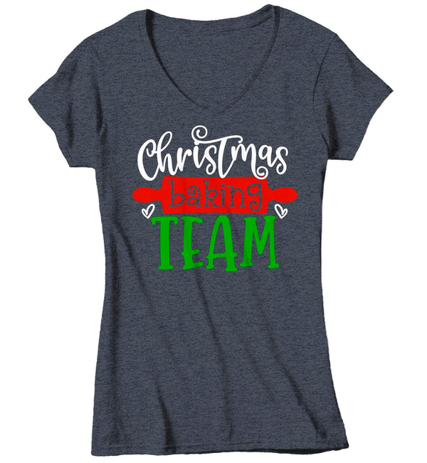 Women's V-Neck Christmas T Shirt Christmas Baking Team Matching Xmas Shirts Cute Graphic Tee Baker Shirt Ladies Woman-Shirts By Sarah