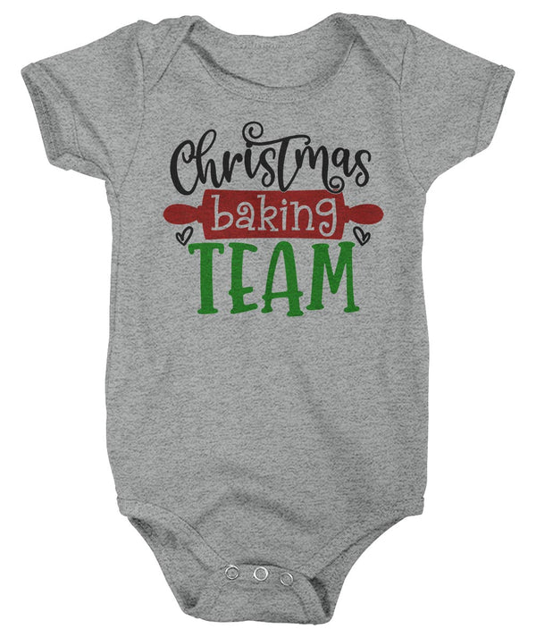 Baby Christmas Bodysuit Christmas Baking Team Matching Xmas Snap Suit Cute Graphic Tee Baker Creeper Boys Girls Infant-Shirts By Sarah