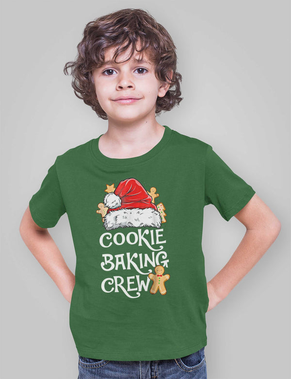 Kids Christmas T Shirt Cookie Baking Crew Matching Xmas Shirts Cute Graphic Tee Santa Hat Cookies Shirt-Shirts By Sarah