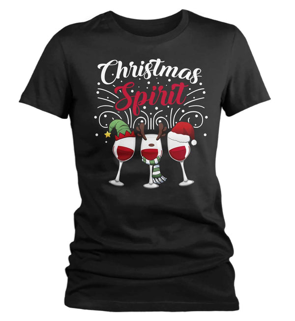 Women's Funny Christmas T Shirt Wine Shirt Wine Christmas Shirt Holiday Spirit Shirts Wine Shirt For Christmas-Shirts By Sarah