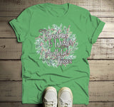 Men's Christmas Wreath Shirt Christmas Wishes Shirts Mistletoe Kisses T Shirt Xmas Outfit Watercolor Graphic Tee-Shirts By Sarah