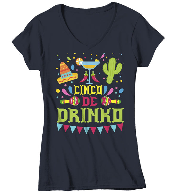 Women's V-Neck Funny Cinco De Mayo T Shirt Cinco De Drinko Shirt Margarita Shirt Funny Drinking Shirt-Shirts By Sarah