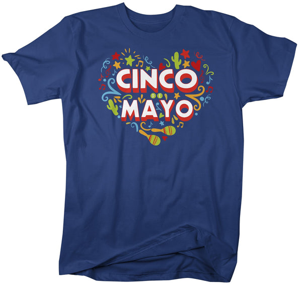 Men's Cinco De Mayo T Shirt Mexico Heart Shirts Mexican 5th May Graphic Tee Mexican Pride Tshirt-Shirts By Sarah