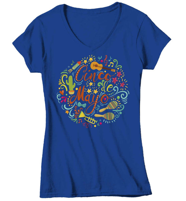 Women's V-Neck Cinco De Mayo T Shirt Cinco De Mayo Typography Shirt Hipster Shirt Cute Cinco De Mayo Shirt-Shirts By Sarah